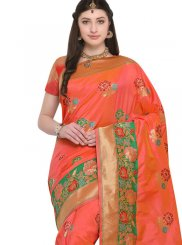 Resham Work Orange Silk Saree