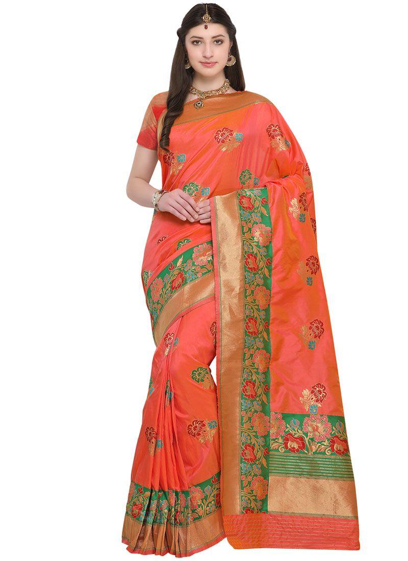 Resham Work Orange Silk Saree