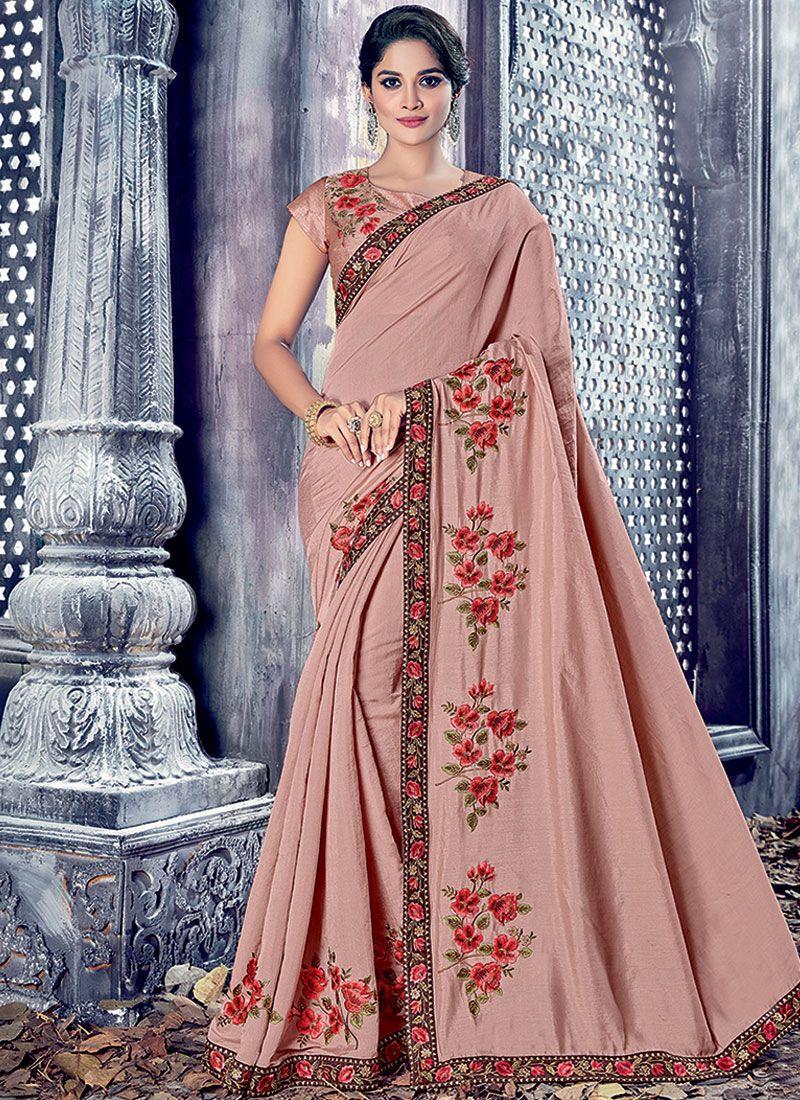 Resham Work Pink Designer Saree