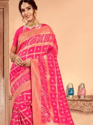 Rose Pink Abstract Print Patola Silk  Classic Saree