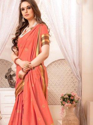 Rose Pink Art Silk Ceremonial Traditional Designer Saree
