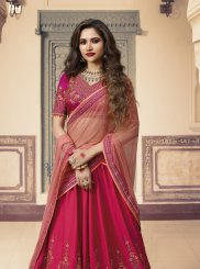 Rose Pink Art Silk Embroidered Designer Lehenga Choli