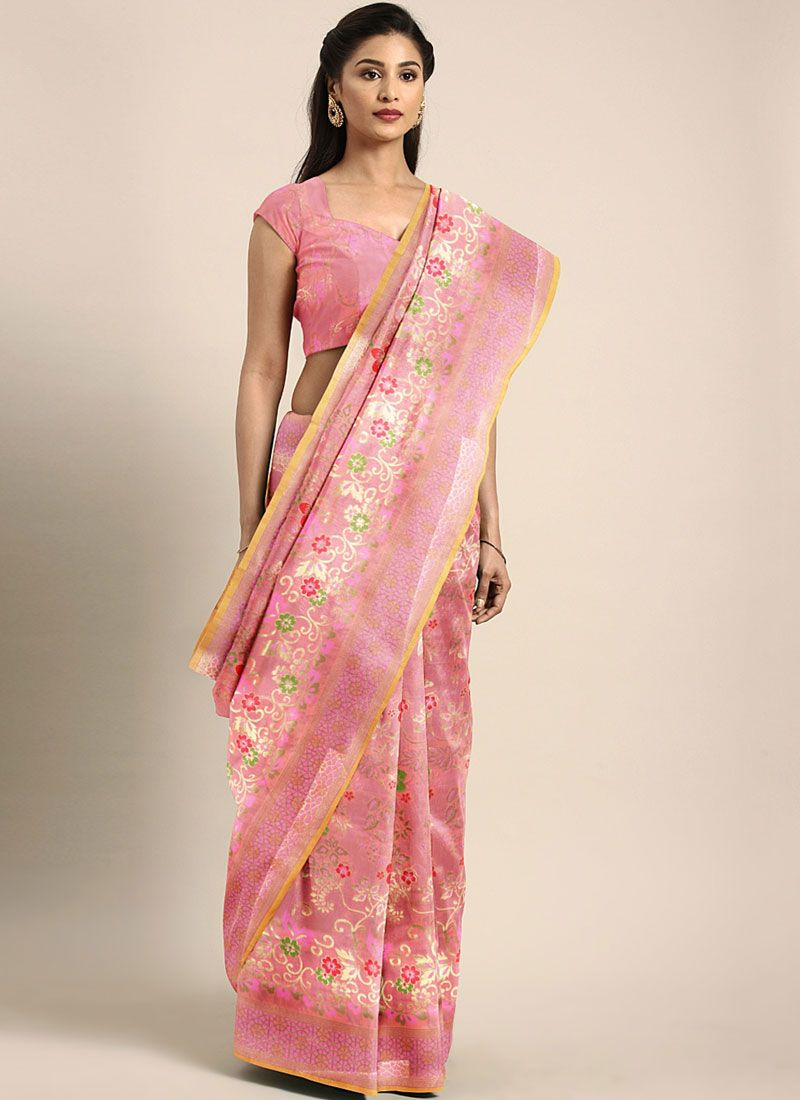 Rose Pink Banarasi Silk Traditional Saree