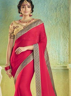 Rose Pink Border Sangeet Classic Saree