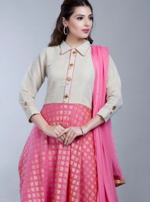 Rose Pink Cotton Anarkali Salwar Kameez