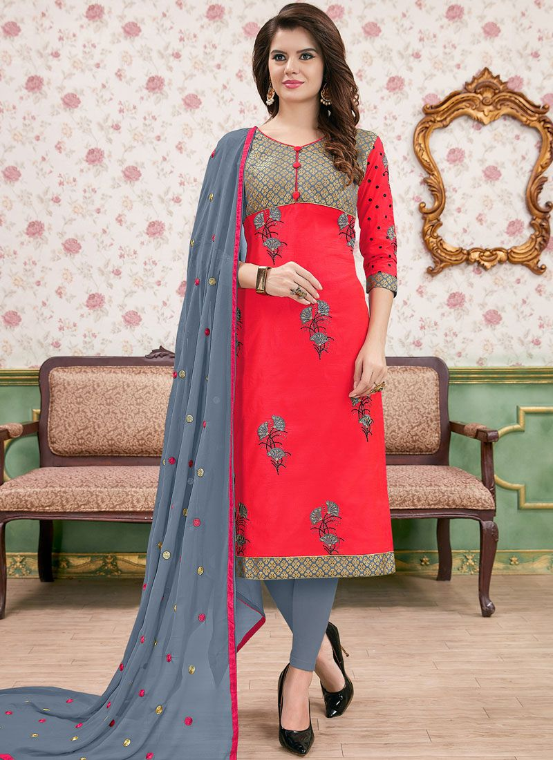 Rose Pink Cotton   Churidar Suit