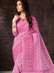 Rose Pink Cotton Printed Casual Saree