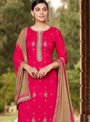 Rose Pink Cotton Thread Designer Palazzo Salwar Suit