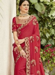 Rose Pink Embroidered Ceremonial Designer Saree