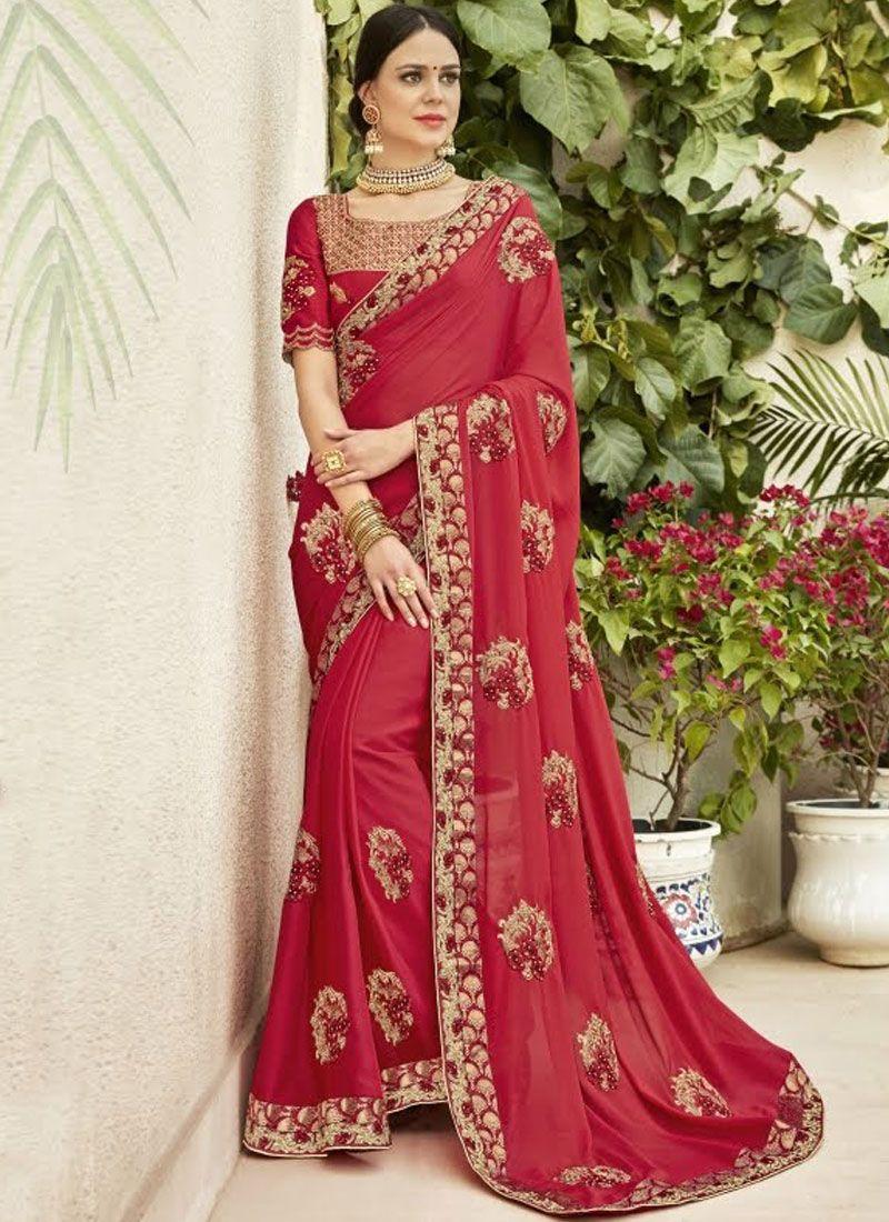 Rose Pink Embroidered Ceremonial Designer Saree