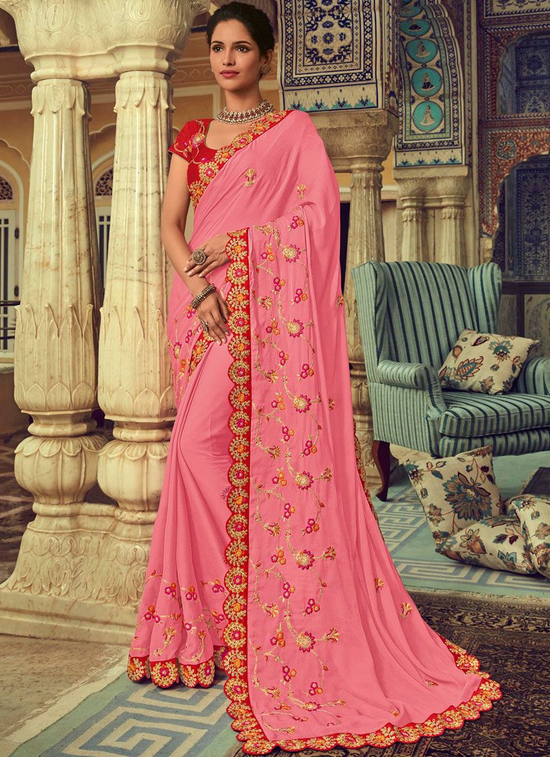 Rose Pink Embroidered Faux Chiffon Classic Saree