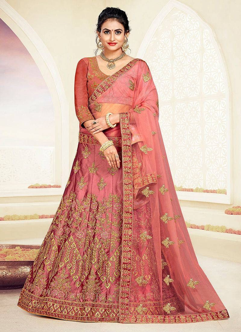 Rose Pink Embroidered Party A Line Lehenga Choli