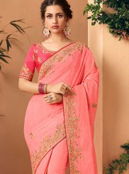 Rose Pink Embroidered Silk Classic Saree
