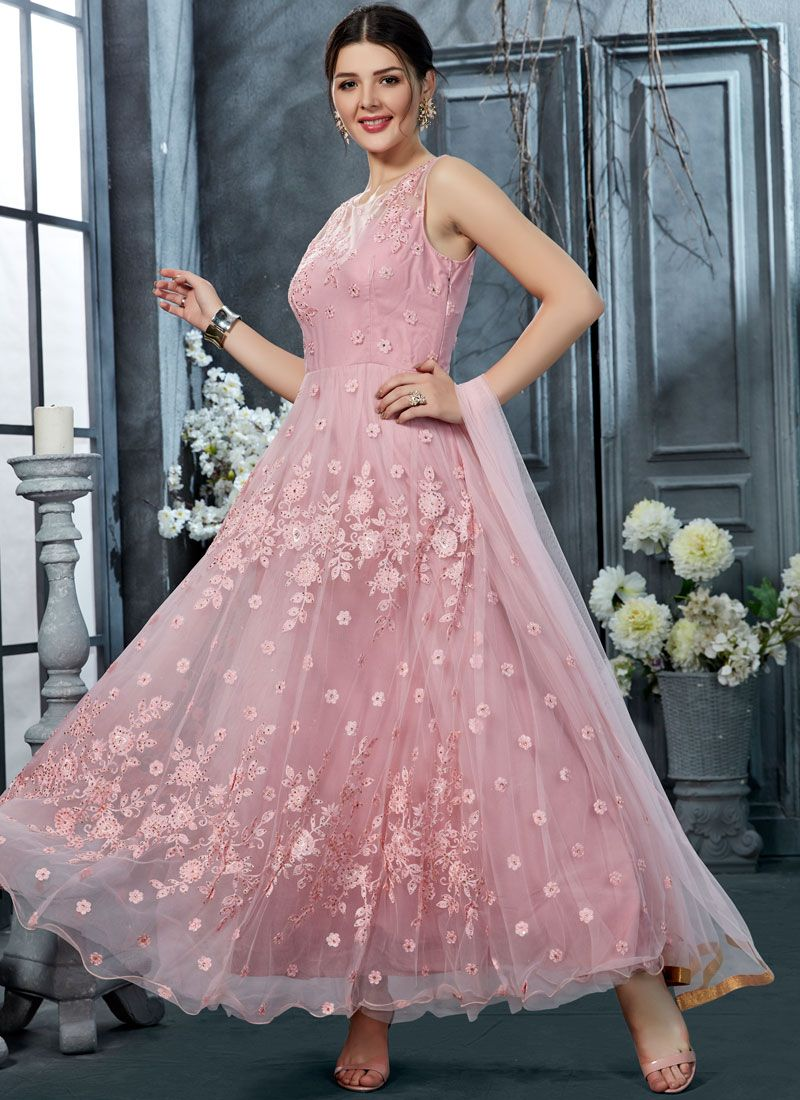 Rose Pink Embroidered Trendy Anarkali Salwar Suit