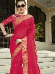 Rose Pink Faux Chiffon Designer Saree