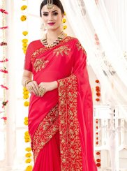 Rose Pink Faux Georgette Saree