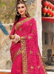Rose Pink Georgette Classic Saree