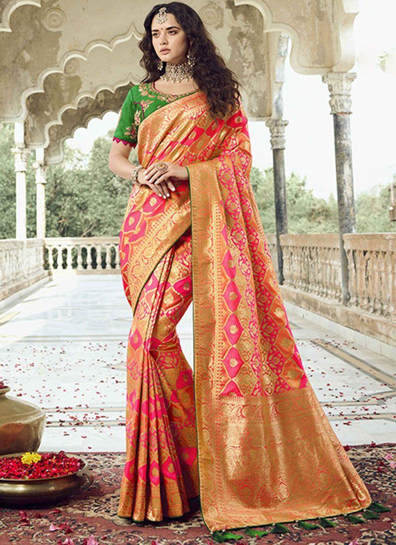 Rose Pink Jacquard Silk Designer Traditional Saree
