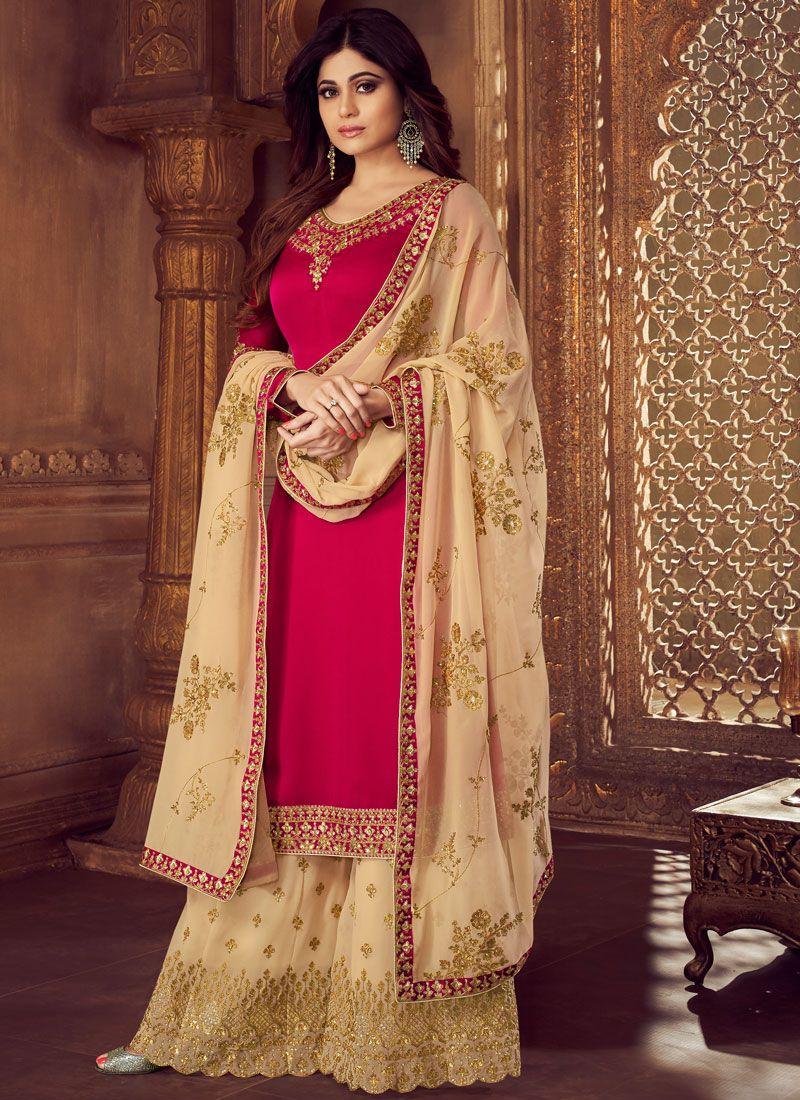 Rose Pink Mehndi Palazzo Designer Suit