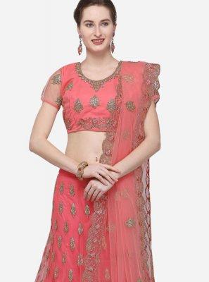 Rose Pink Net Designer Lehenga Choli