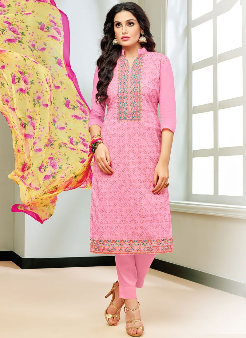 Rose Pink Printed Casual Pant Style Suit