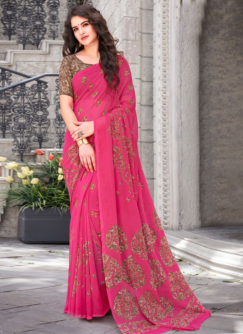 Rose Pink Printed Casual Saree