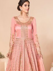 Rose Pink Satin Silk Embroidered Trendy Anarkali Salwar Kameez