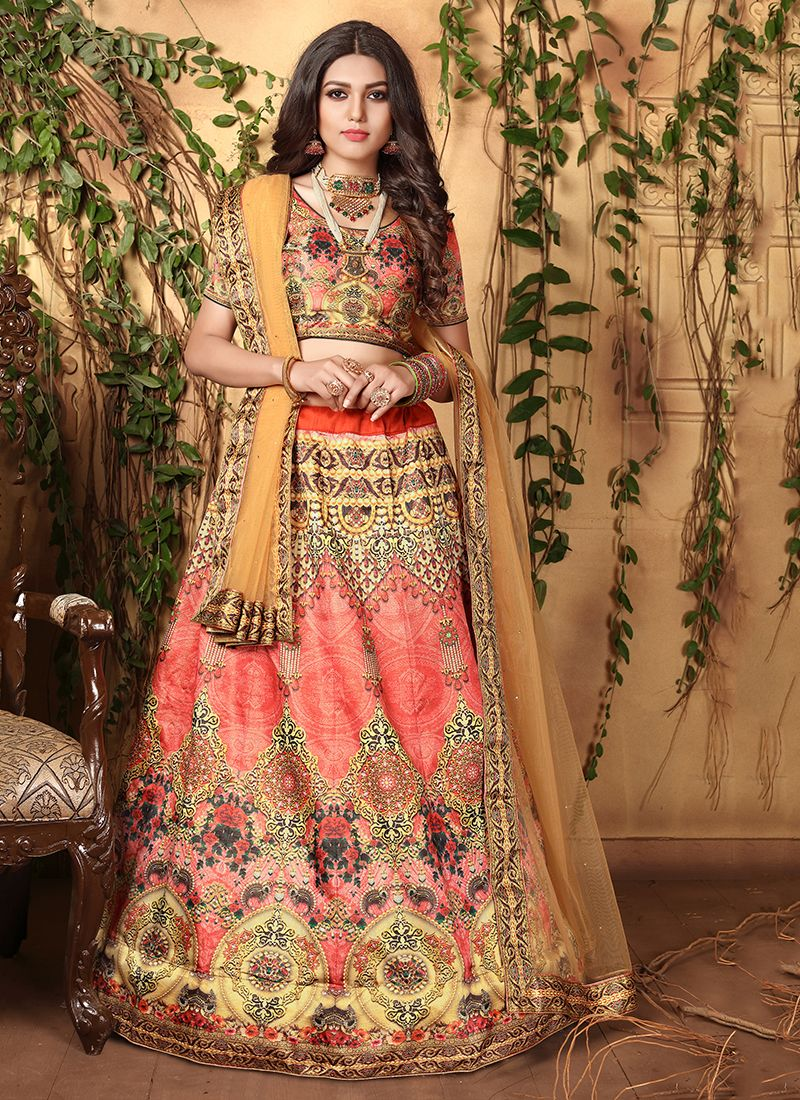 Rose Pink Satin Trendy Lehenga Choli