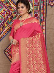 Rose Pink Weaving Fancy Fabric Designer Traditional Saree