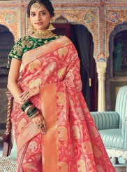 Rose Pink Weaving Wedding Designer Traditional Saree