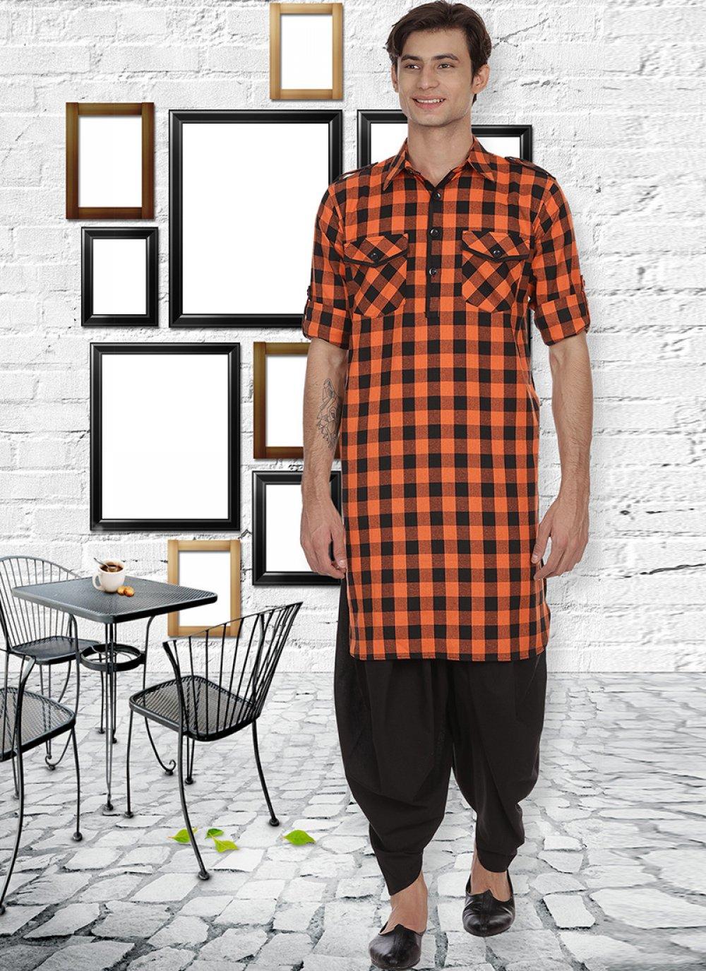 Rust Cotton Kurta Pyjama