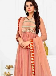 Rust Embroidered Anarkali Suit