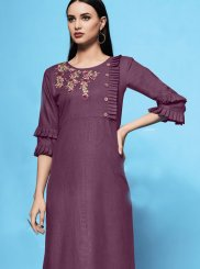 Rust Embroidered Casual Kurti