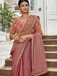 Rust Embroidered Designer Saree