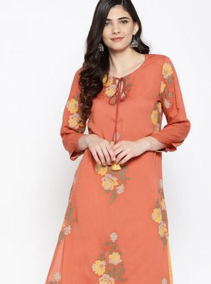 Rust Fancy Fabric Party Wear Kurti
