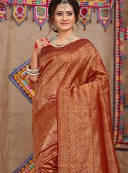 Rust Fancy Fabric Traditional Designer Saree