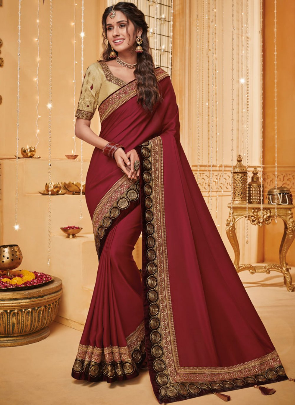 Rust Fancy Fabric Traditional Saree