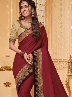Rust Fancy Fabric Traditional Saree