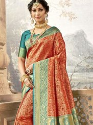 Rust Festival Traditional Saree