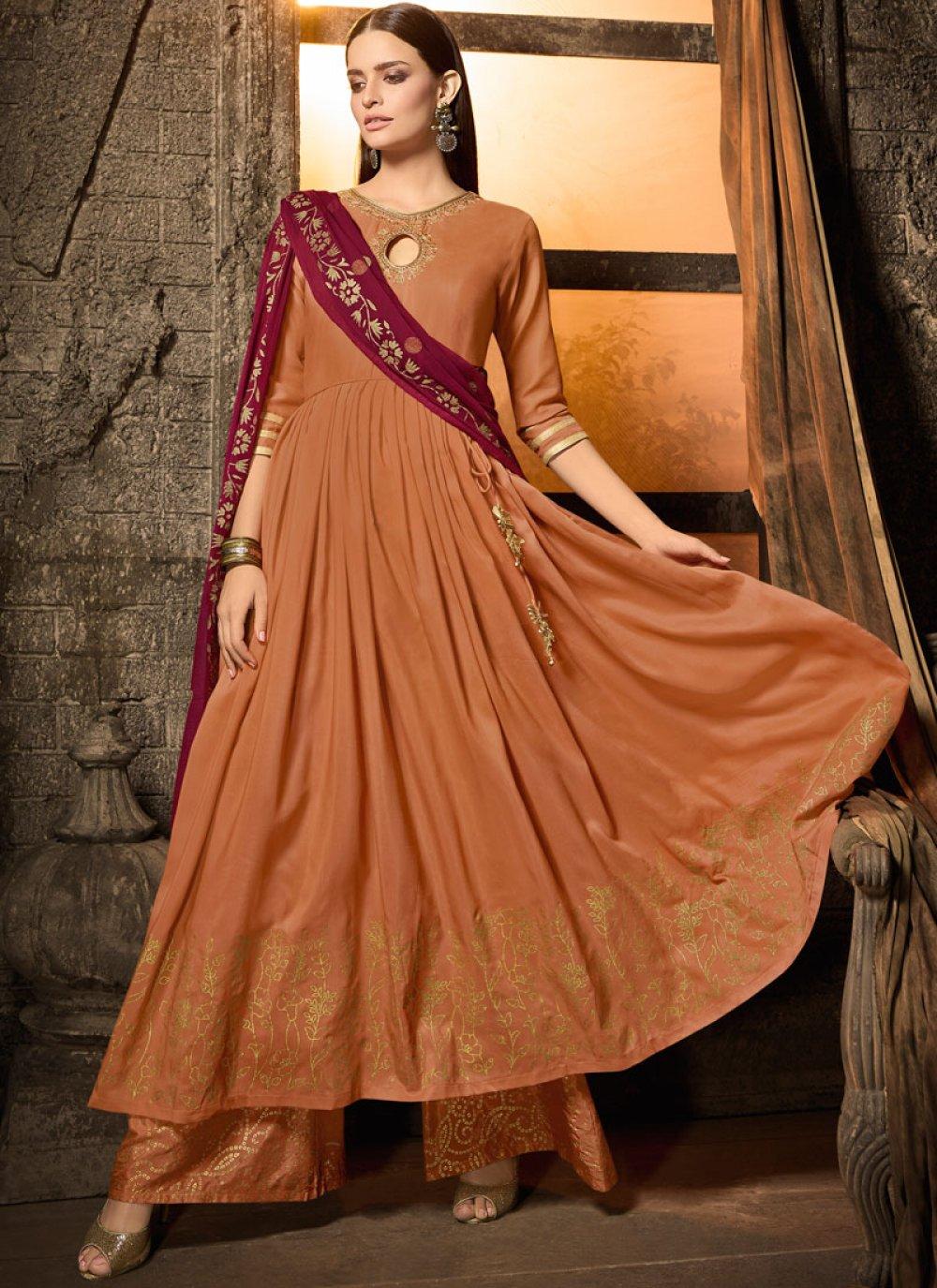 Rust Muslin Wedding Designer Salwar Kameez