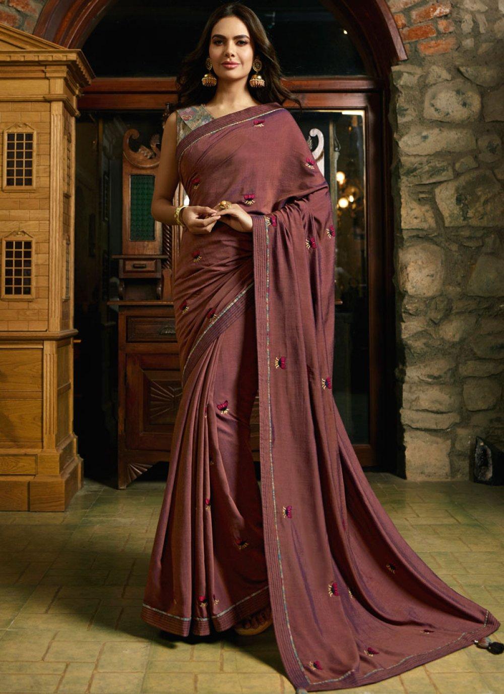 Rust Silk Embroidered Designer Saree