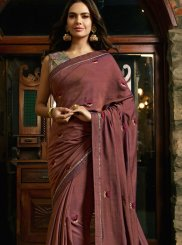 Rust Silk Embroidered Designer Saree