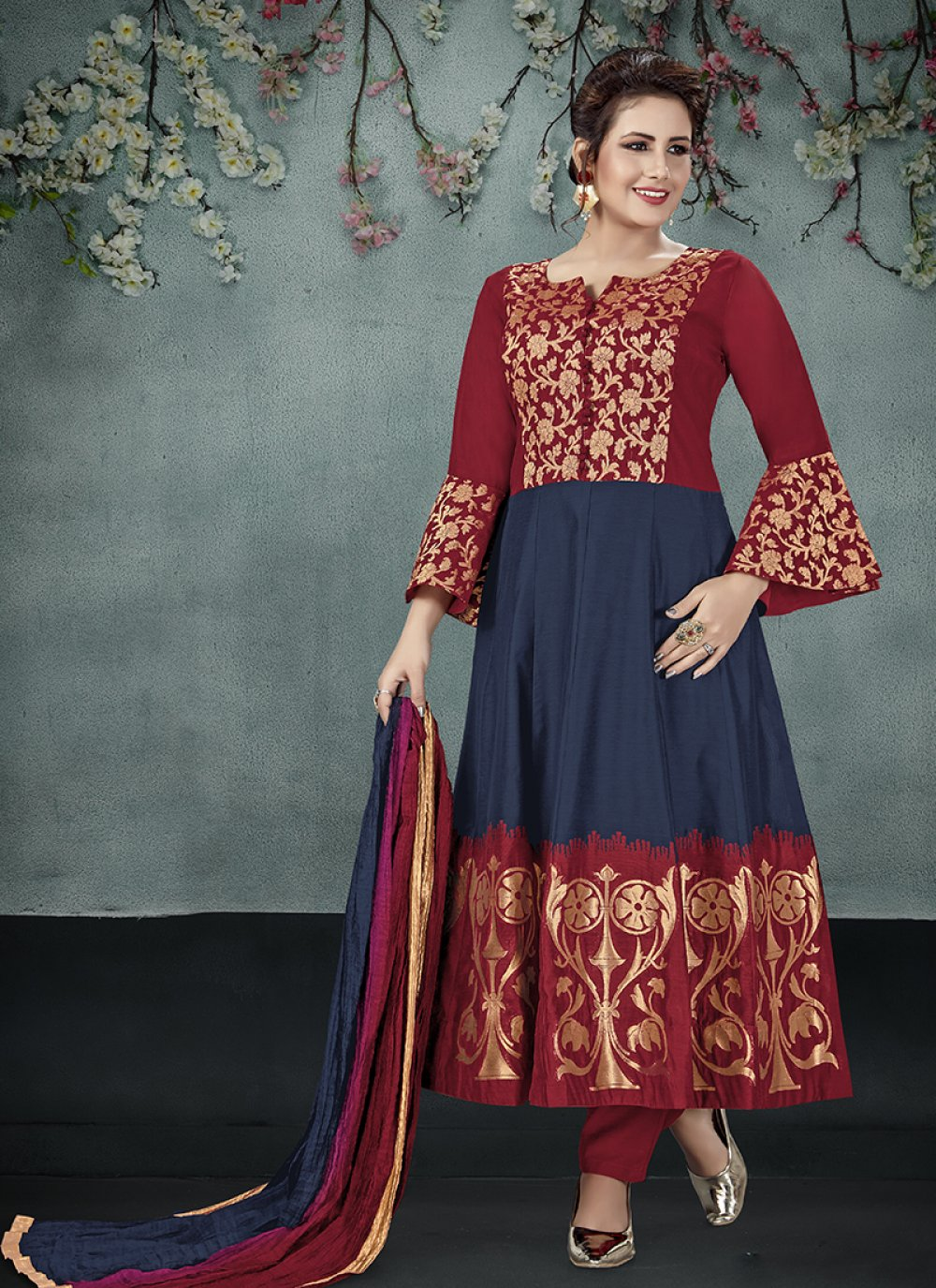 Salwar Suit Embroidered Art Silk in Navy Blue