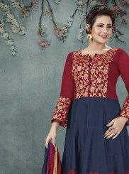 Salwar Suit Embroidered Art Silk in Navy Blue