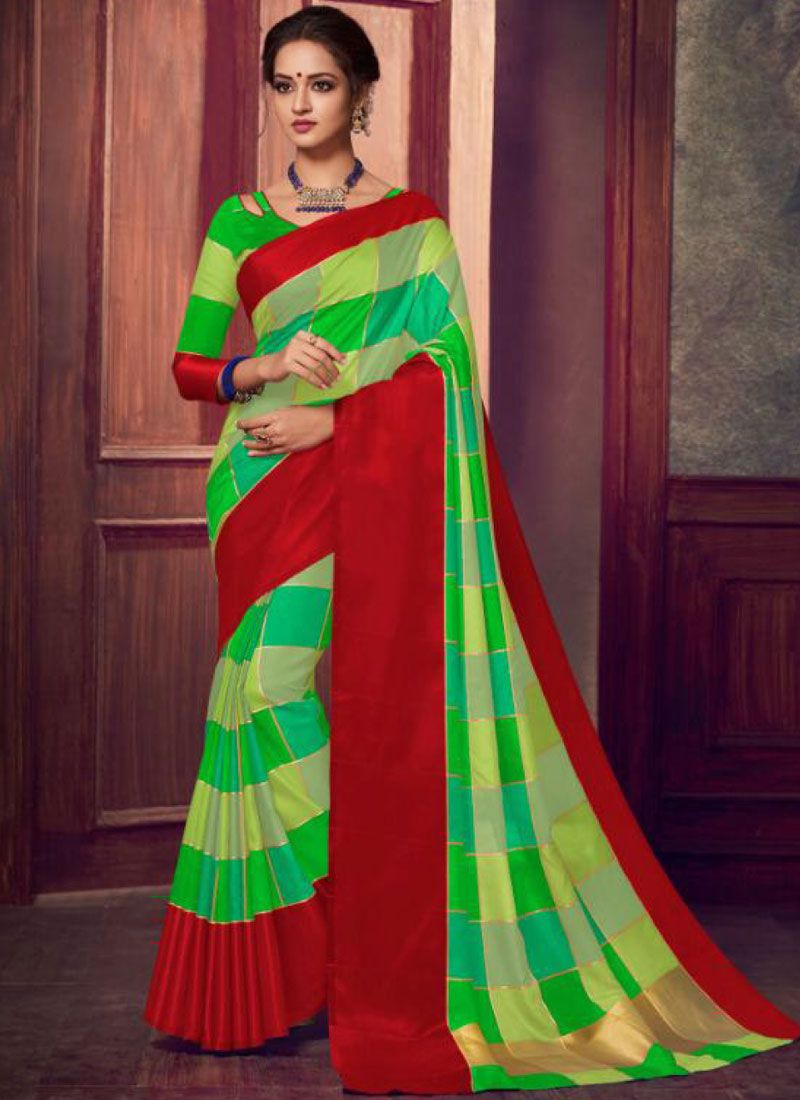 Saree Abstract Print Fancy Fabric in Green