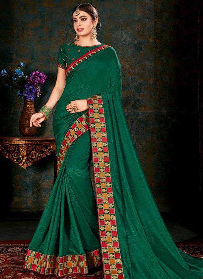 Saree Border Fancy Fabric in Green