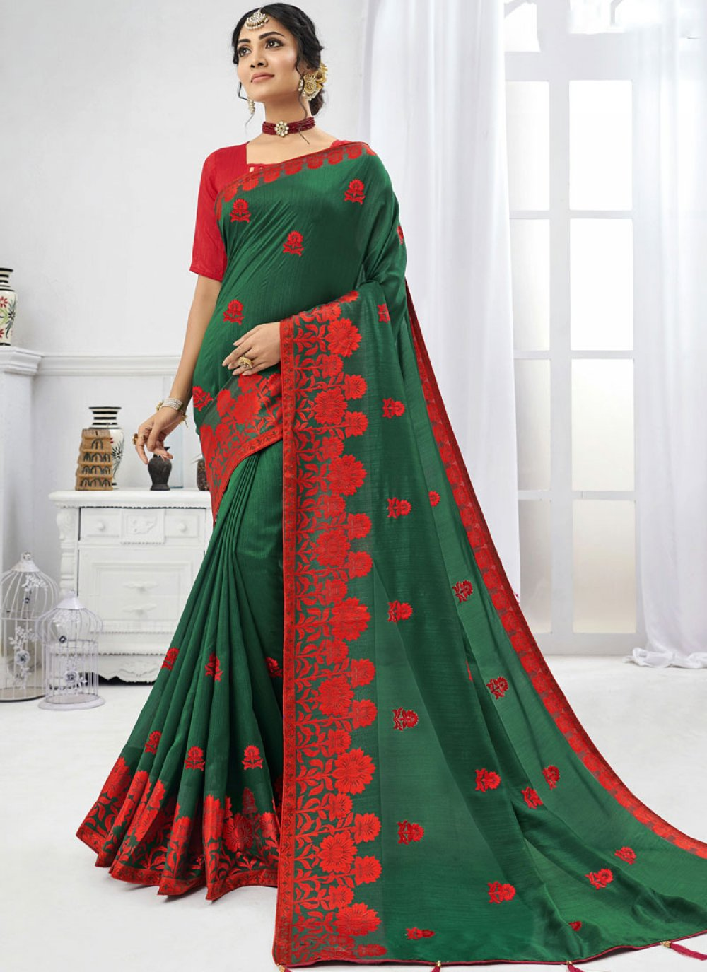 Saree Embroidered Faux Chiffon in Green
