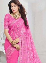 Saree Embroidered Faux Chiffon in Hot Pink