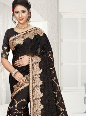 Saree Embroidered Faux Georgette in Black
