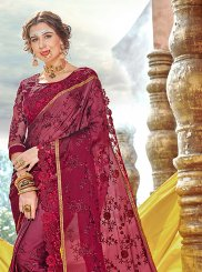 Saree Embroidered Faux Georgette in Maroon